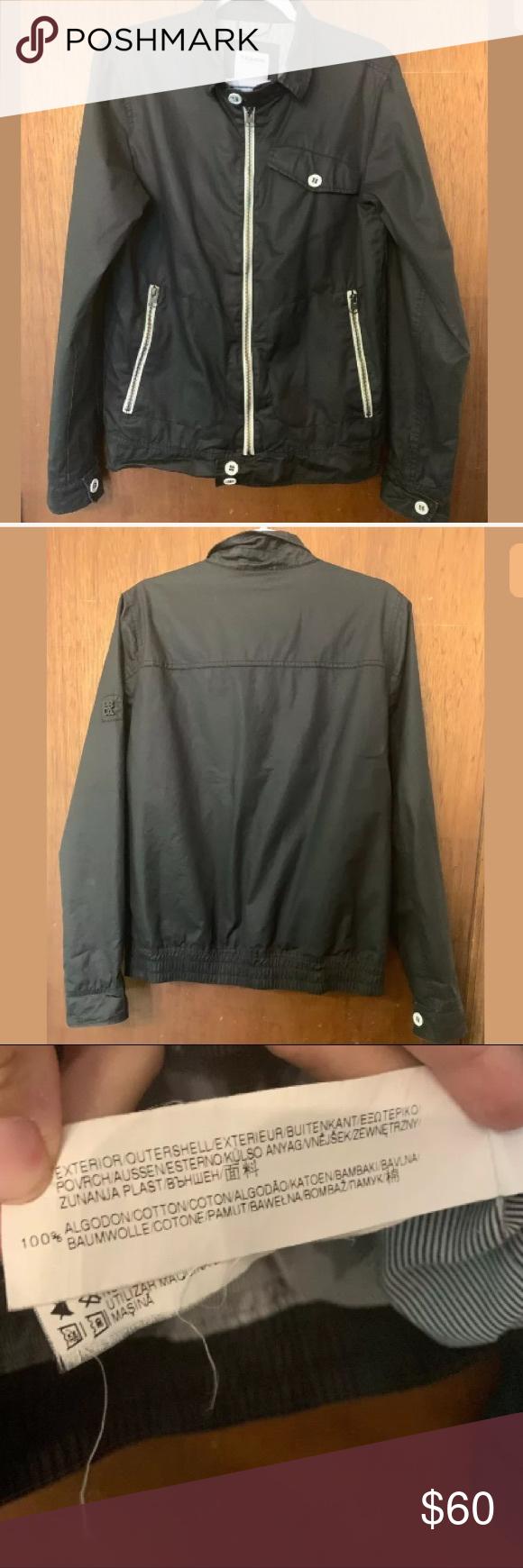 Pull Bear Black Zip Up Moto Waxed Cotton Jacket Waxed Cotton Jacket Black Zip Ups Waxed Cotton