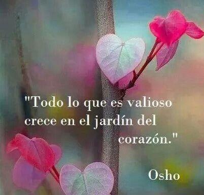 """""""Todo lo que es valioso crece en el jardín del corazón.""""   Osho"""