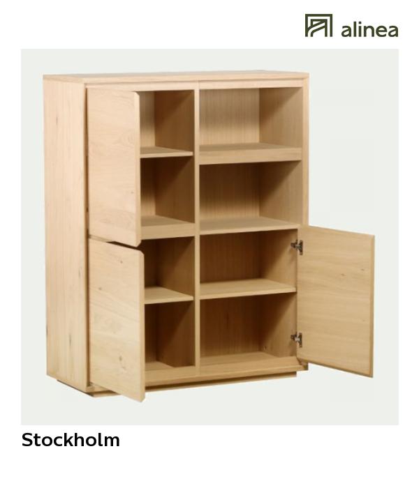 Alinea Stockholm Buffet Haut 3 Portes Et 2 Cases Plaque Chene Les