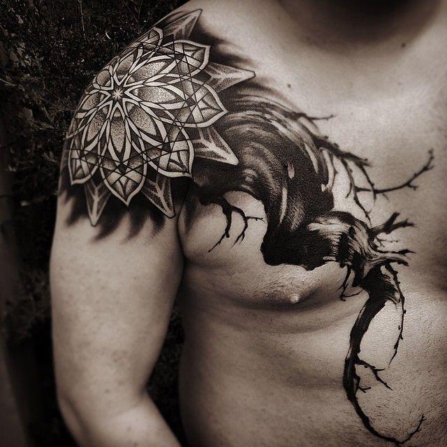 """#geometricpattern#mandala#dotwork#patternwork#brushpainting#tattoo#blackworkerssubmission"""