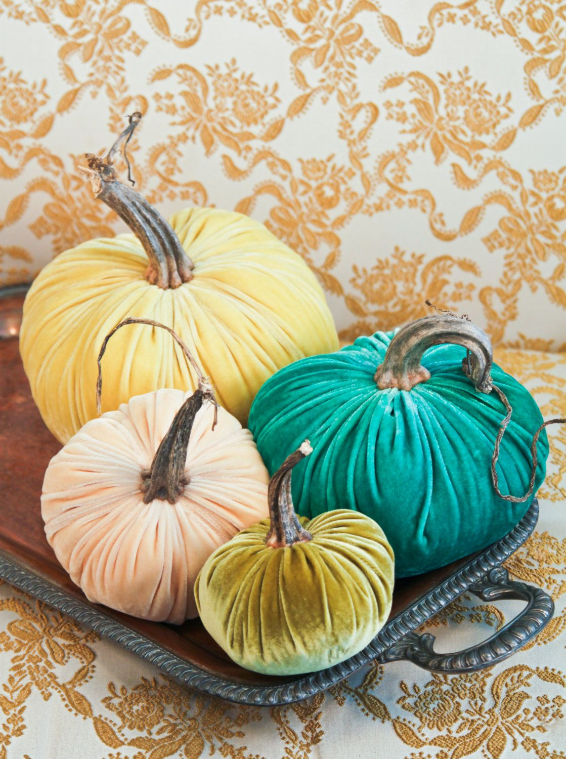 Four Coastal Confection Velvet Pumpkins with Real Pumpkin Stems by TheVelvetWindow on Etsy