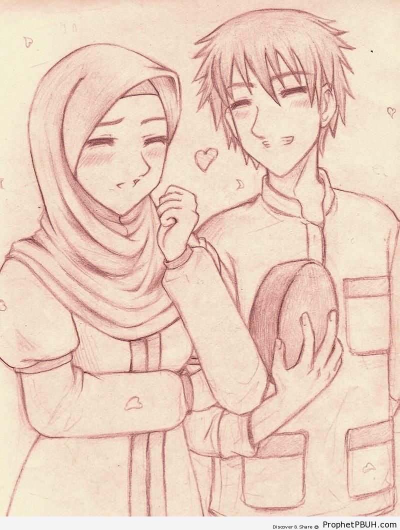 Gambaran Pensil Anime Couple Islami