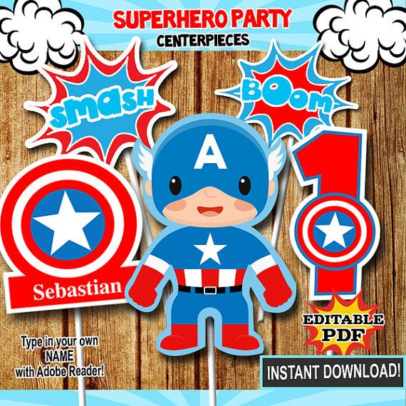 Superhéroe Centros De Mesa Centros De Mesa De Capitán