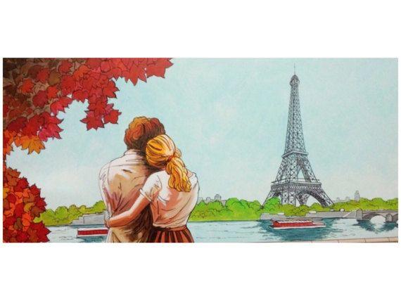 Cuadro pintado a mano con acrilico u oleo sobre lienzo de - Cuadros de parejas ...