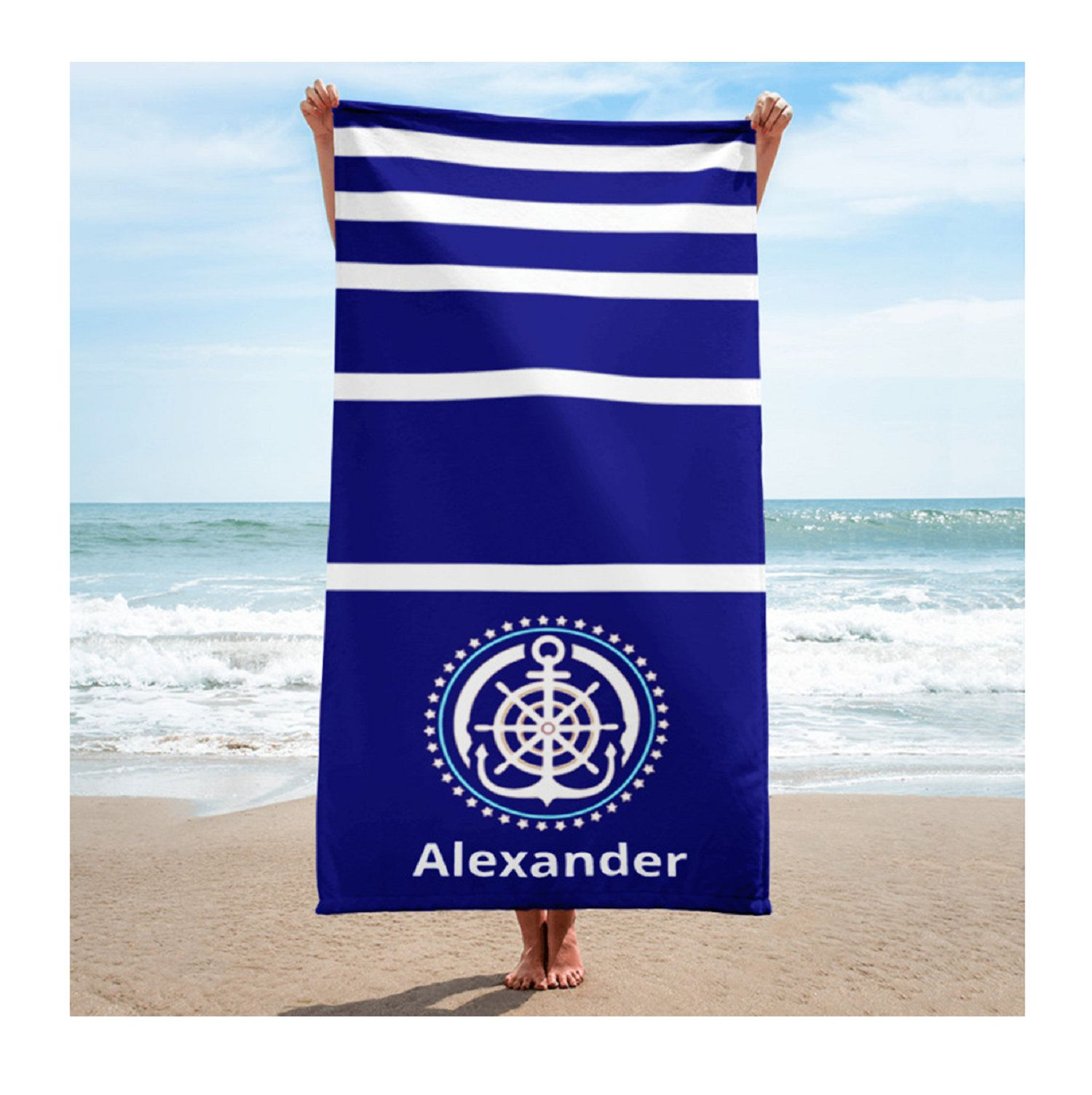 Personalise This Blue White Stripes Beach Towel A Great Gift For