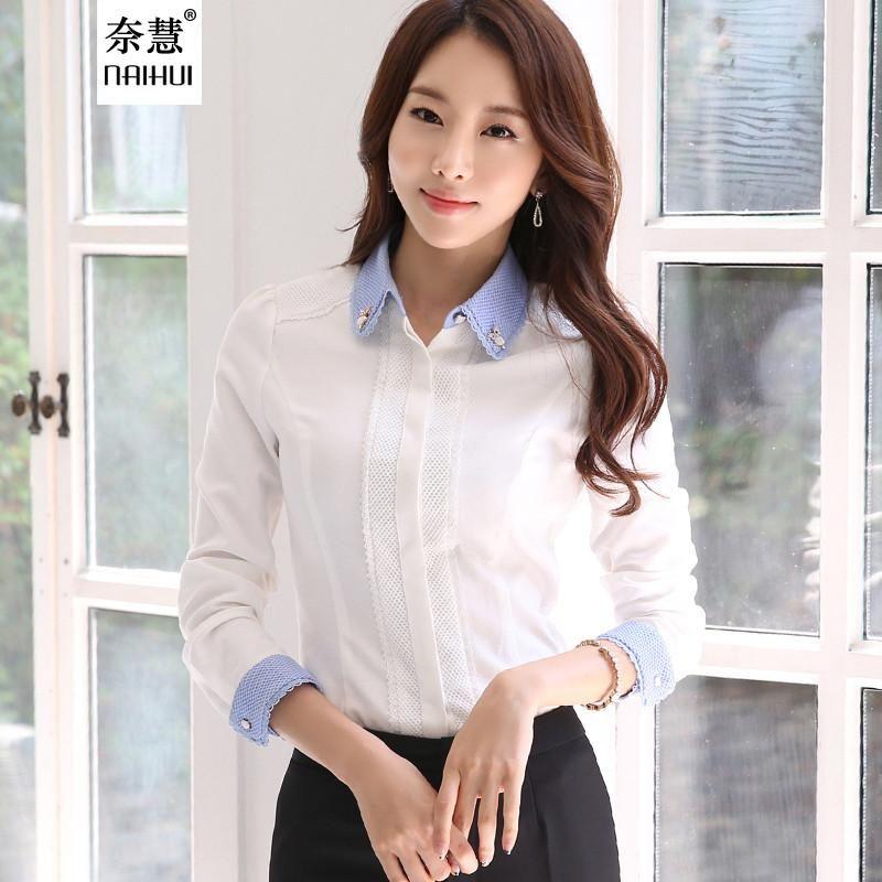 39a8103a62f Women elegant Blouse Female cotton Shirts Ladies work wear office ...