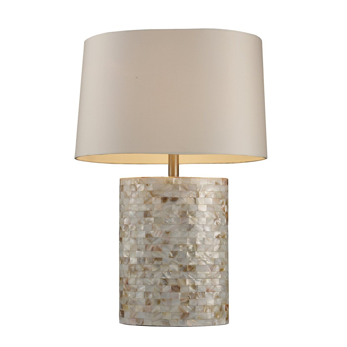 Mother Of Pearl Mosaic Lamp. Product: Table Lamp Construction Material:  Shell Color: Mother Of Pearl And Off White Features: Switch On  SocketAccommodates: ...
