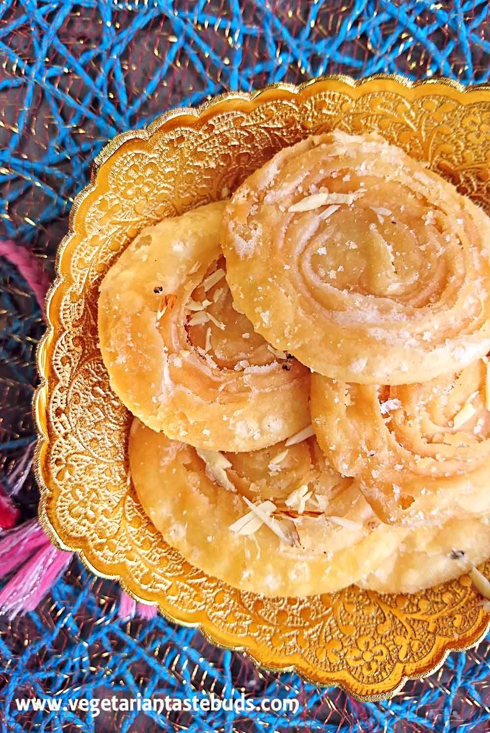 Chirote | Crispy Layered Sweet Puri | how to make crispy layered sweet puri | diwali recipes | Vegetarian Tastebuds