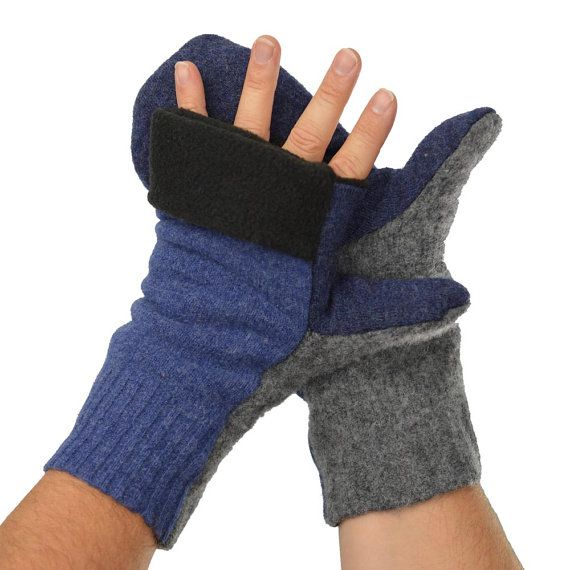 Men's Convertible Mittens in Blue and Grey  Recycled by mirabeans
