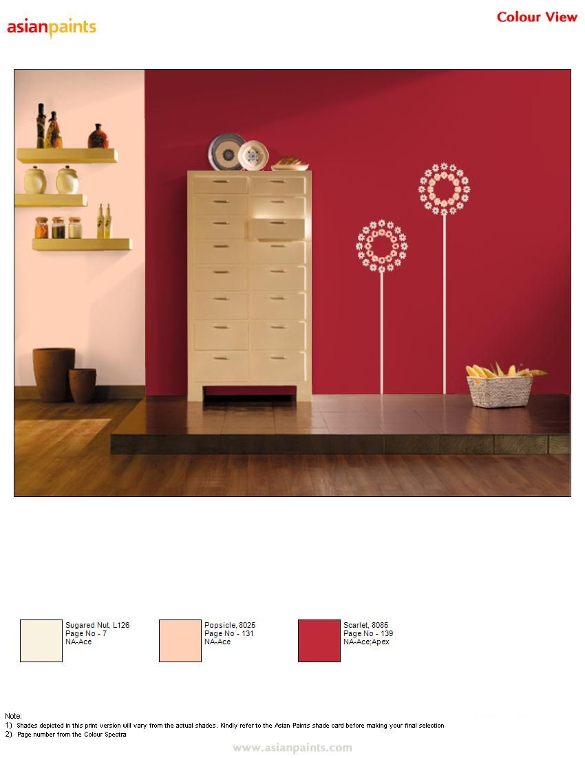 Feature Wall In Bright Red Color With Light Shades Of Floral Prints Gives Tall Appearance To The