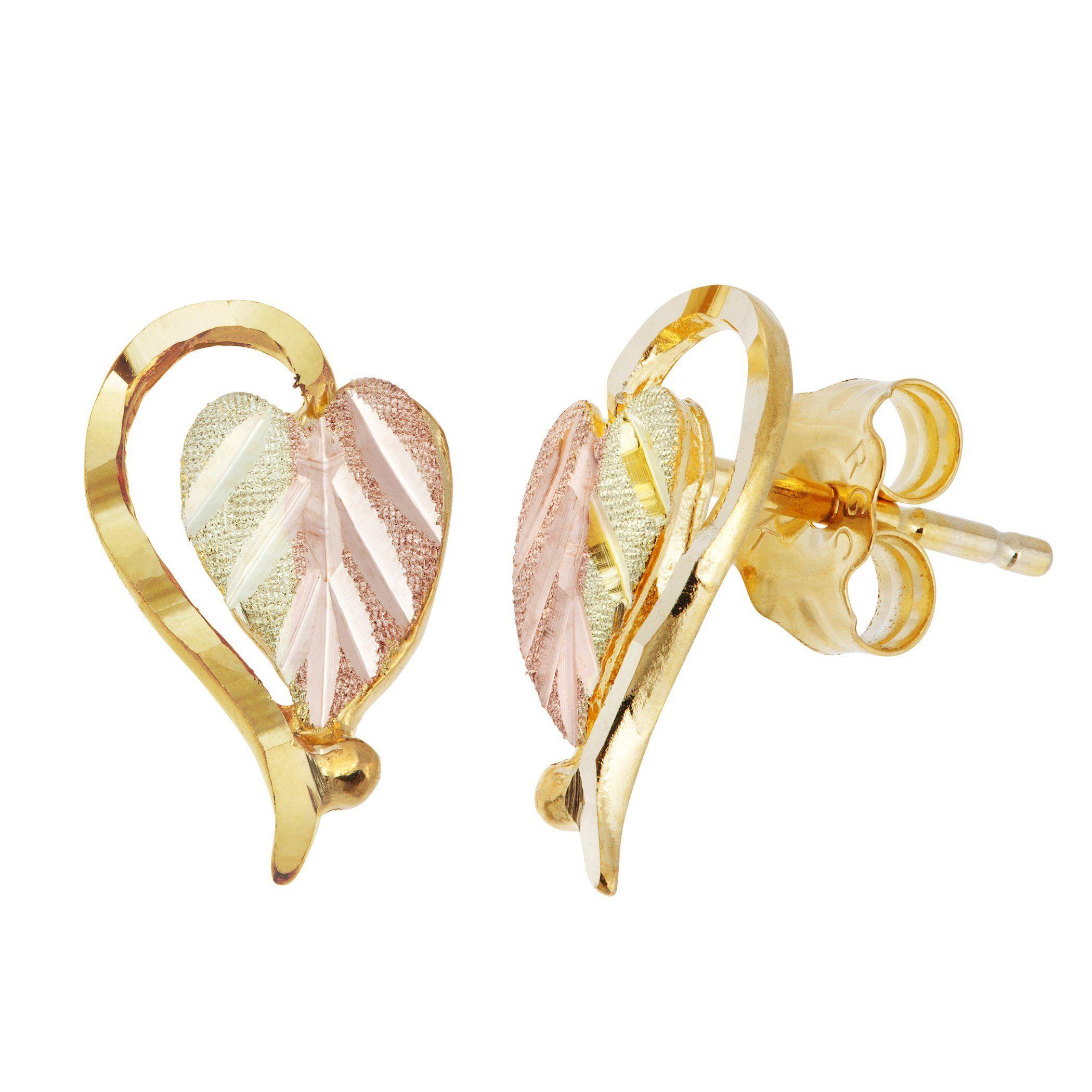 f0ad0b8d2 Landstrom's Black Hills Gold Post Earrings - Heart - Leaf - 12K Leaves, 10K  Frames, 14K Posts & Backs - Handmade - GLER630P