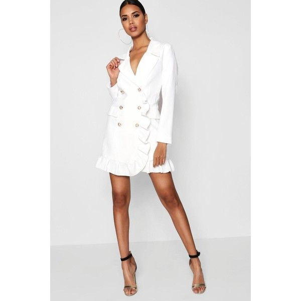 3cf47638740 Boohoo Kate Ruffle Double Breasted Blazer Dress ( 41) ❤ liked on Polyvore  featuring dresses