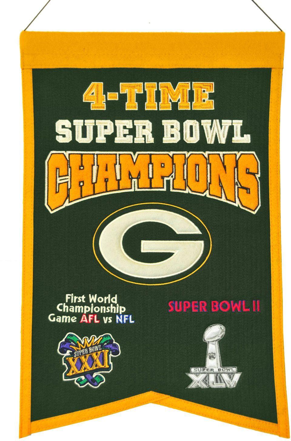 Winning Streak Green Bay Packers 4 Time Super Bowl Champions Banner