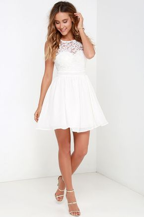 Rehearsal Dinner Dress Truth And Fiction Ivory Lace Skater At Lulus