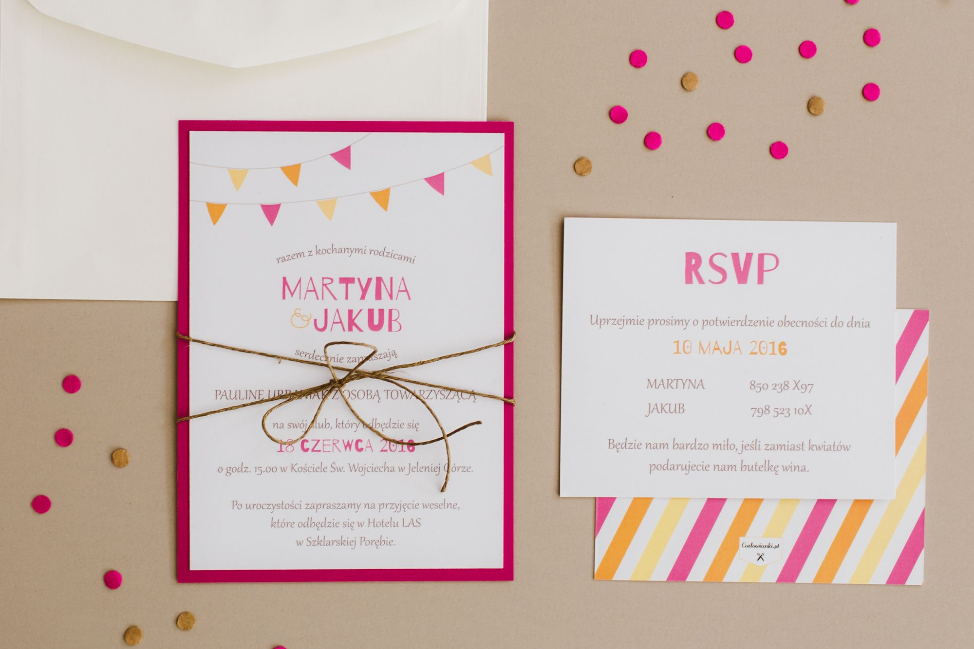 Garland, pink and orange wedding invitation. | Kolorowe zaproszenie ...
