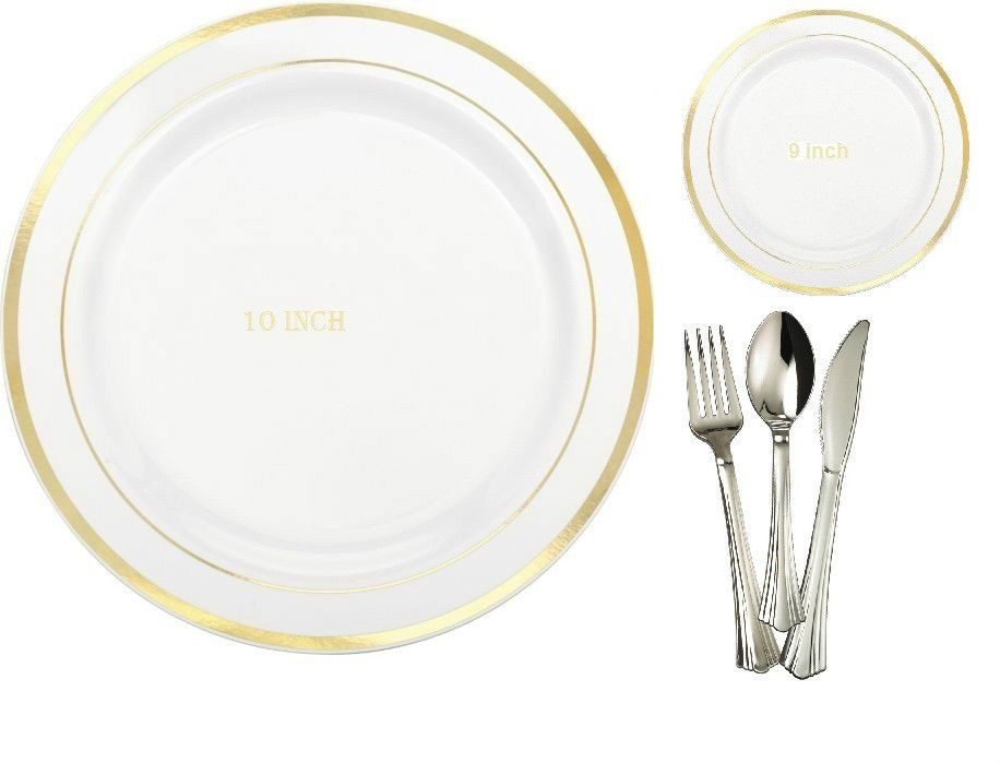 10\' & 9\' Dinner/Wedding Party Disposable Plastic Plates Silverware ...