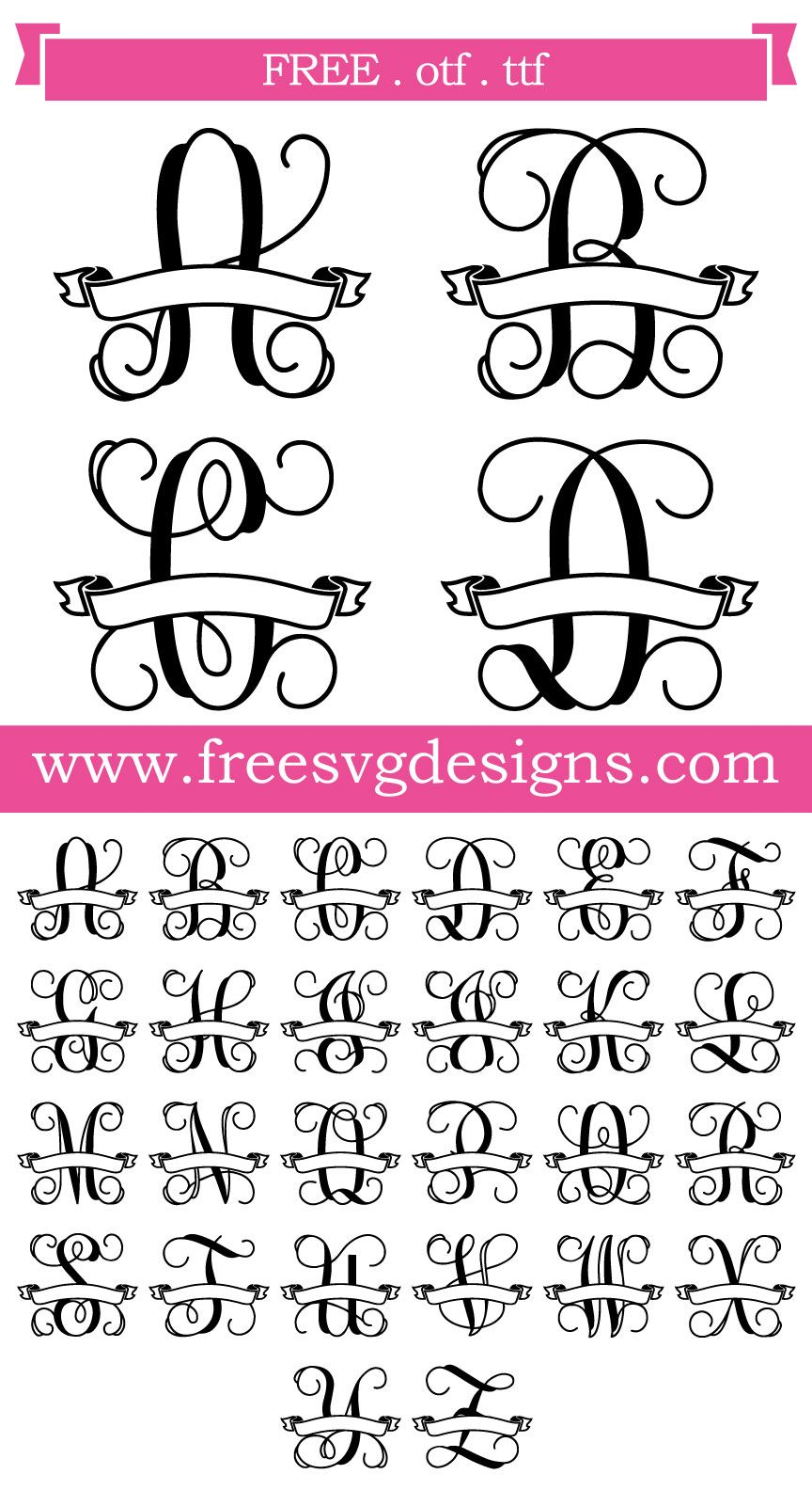 Script Font With Banner 147 Cricut Monogram Monogram Fonts Free Monogram Fonts