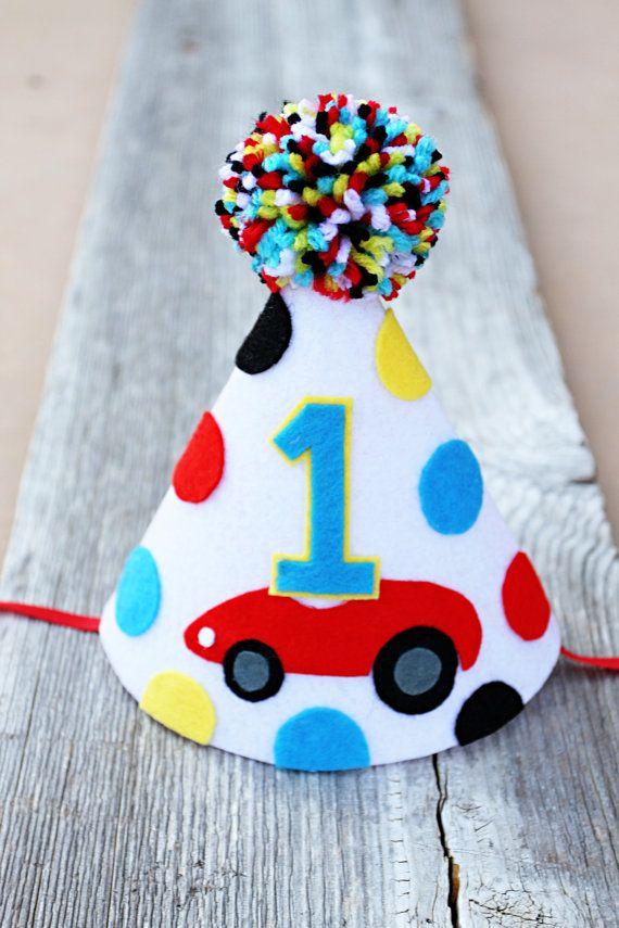 Boys Birthday Cars Party Hat 1st 2nd Birthday Cake Smash Etsy Party Hats Cars Party 1st Boy Birthday