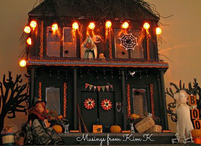 Spooky Halloween dollhouse from Musings from Kim K. - the detail is amazing (and spooky). #haunteddollhouse