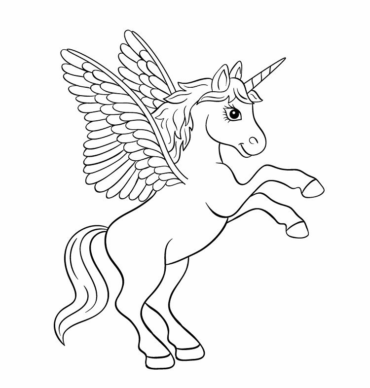 Unicorn Coloring Pages With Wings Desenhos Fofos Para Colorir