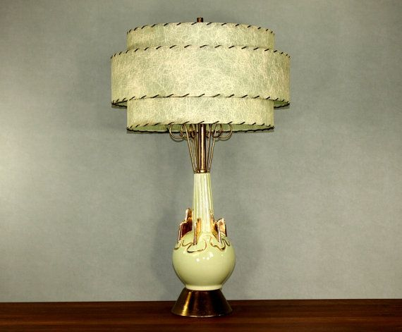 Original Lamps c. miller turquoise gold lamp with original 3 tier fiberglass