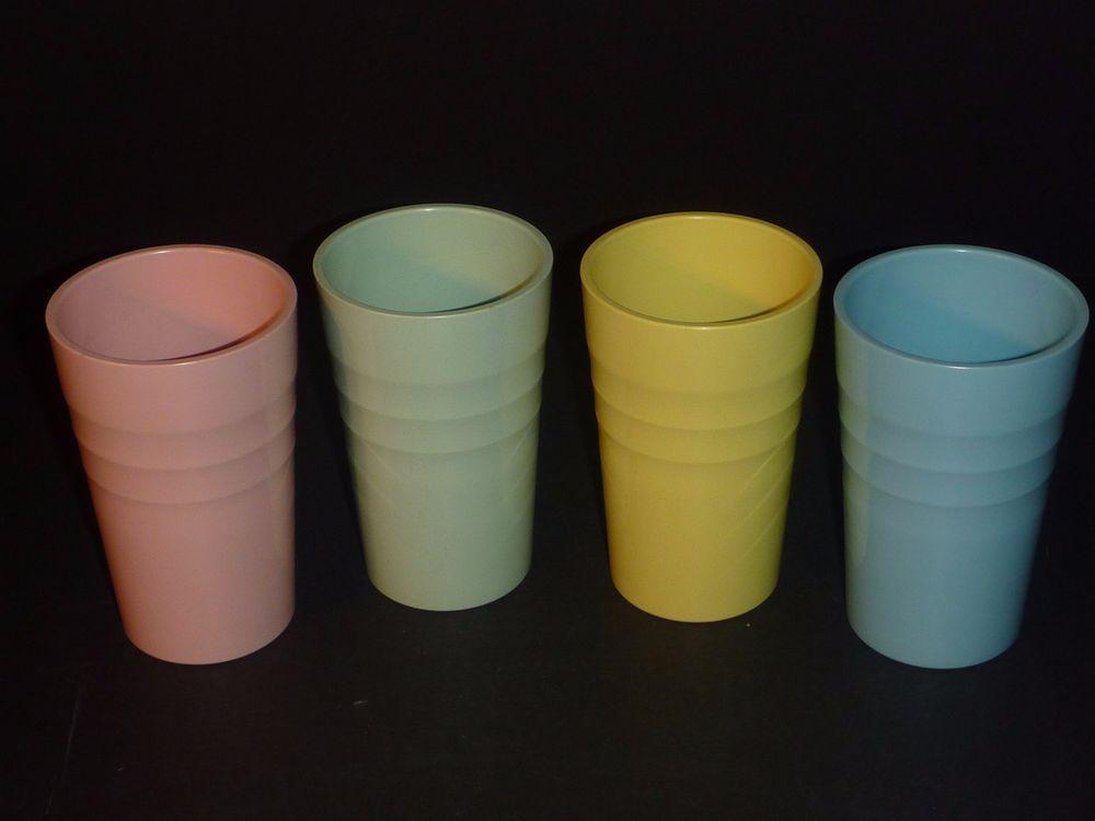f28f67b6109 4 VTG Mid Century Mallo Ware #27 Tumblers Drinking Glasses Pastels Melmine