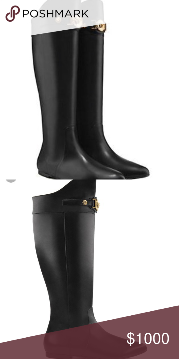 3c2f10db110 Versace authentic womens signature flat boots New Black Versace flat riding  boots with gold Medusa head. Brand new in box comes with dust bag.