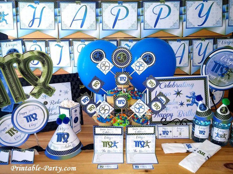 Virgo Printable Birthday Zodiac Astrology Horoscope Themed