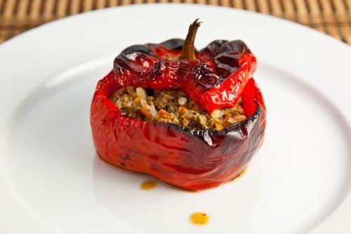 Gemista Greek Stuffed Tomatoes And Peppers Recipe Stuffed Peppers Greek Recipes Recipes