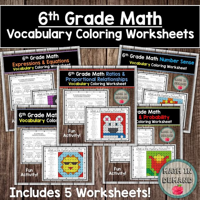 6th Grade Math Vocabulary Coloring Worksheets Math