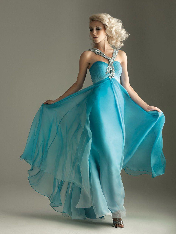 Column Strap Sequin Chiffon Turquoise Floor-length Prom Dress ...