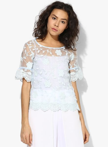 1367a5b015e57 Buy Code by Lifestyle Aqua Blue Embroidered Blouse for Women Online India,  Best Prices, Reviews   CO788WA04FGPINDFAS