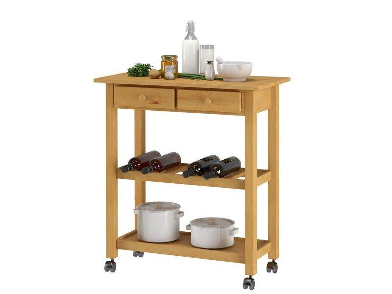 Küchenwagen Landhausstil küchenwagen dagda aus kiefer massiv in geölt rollen servierwagen