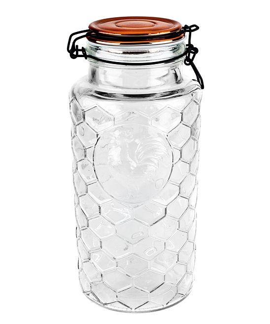 Large Copper-Lid Rooster Glass Jar