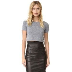 ThePerfext Cashmere Cropped Short Sleeve Sweater