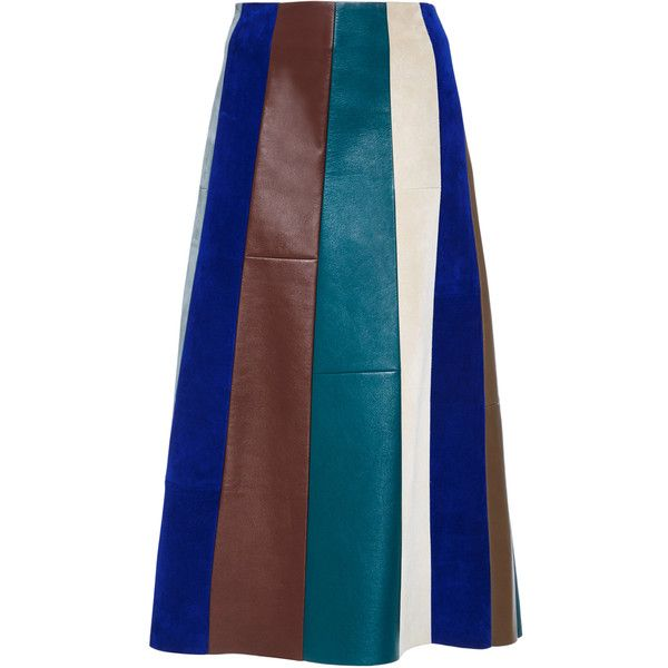 Derek Lam Suede Patchwork A-Line Skirt (11.120 BRL) ❤ liked on Polyvore featuring skirts, blue striped skirt, patchwork skirt, striped skirt, derek lam skirt y derek lam