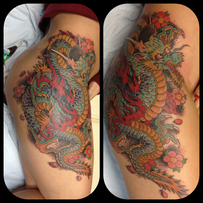 Dragon Horse Tattoo On Thigh Real Photo Pictures Images