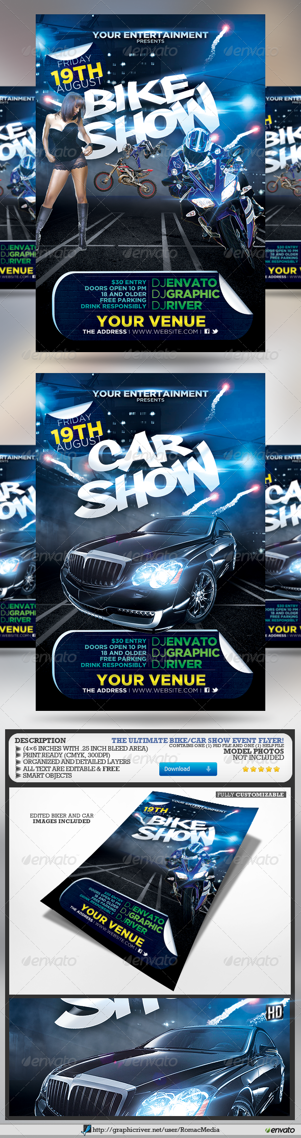Bike And Car Show Flyer  Event Flyer Templates Event Flyers And