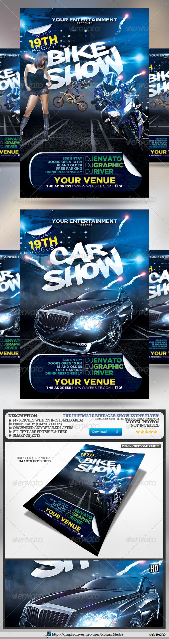 Bike And Car Show Flyer By RomacMedia Bike And Car Show Event Flyer - Car and bike show flyer template