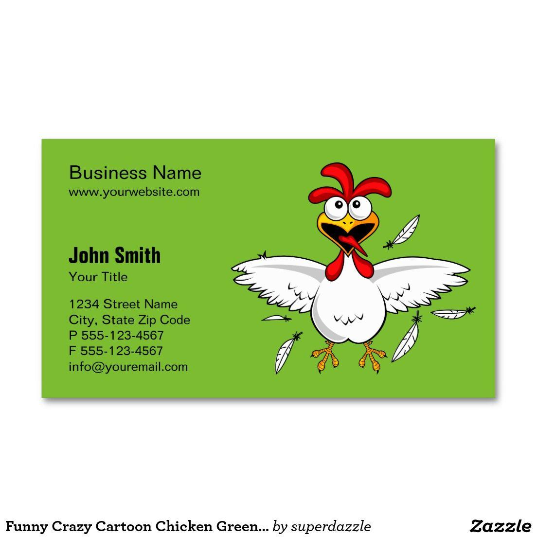 Funny Crazy Cartoon Chicken Green Background Business Card | Green ...