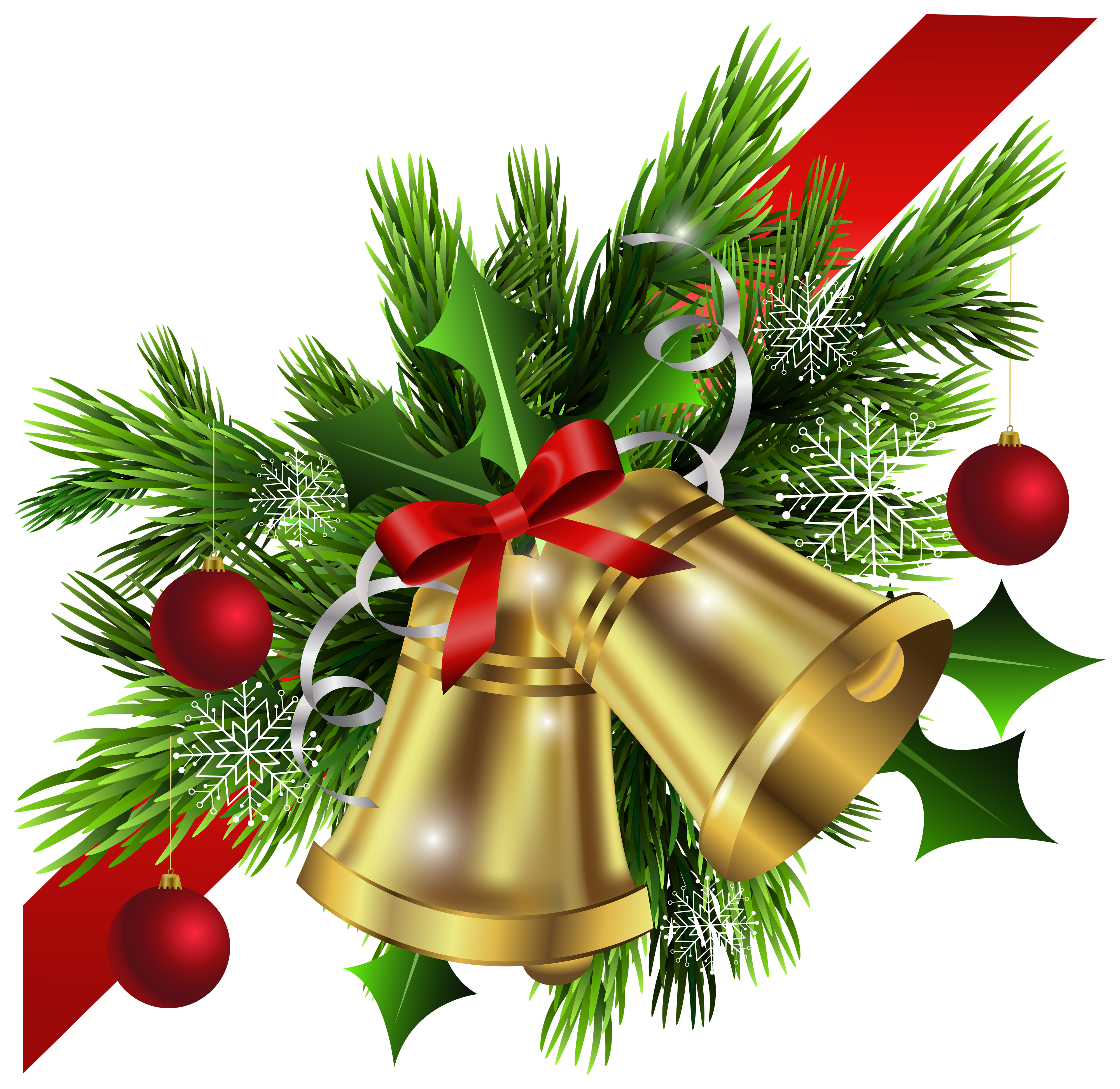 Christmas Red Bow and Bells Corner Transparent PNG Clip