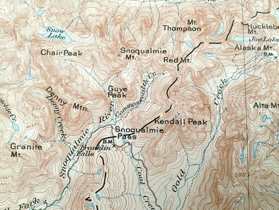 King County Topographic Map.Antique Snoqualmie Washington 1903 Us Geological Survey Topographic