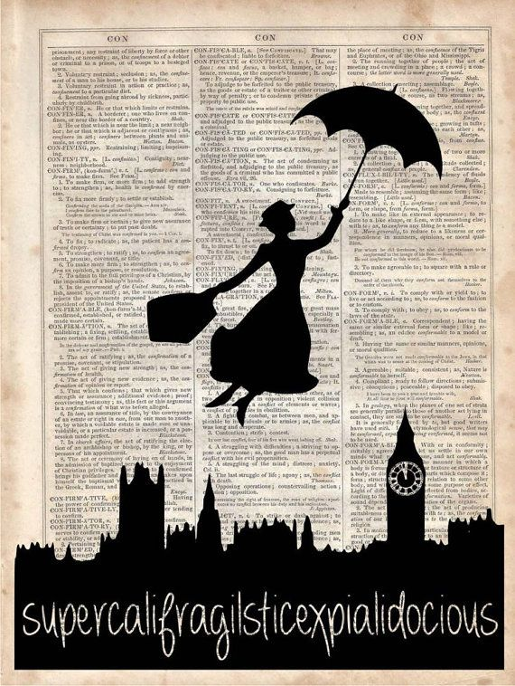Disney Wall Decor mary poppins , dictionary art print, vintage dictionary