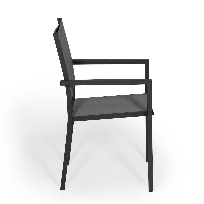 Lot De 6 Chaises En Aluminium Anthracite Textilene Gris En 2020 Chaise De Jardin Chaise D Exterieur Chaise