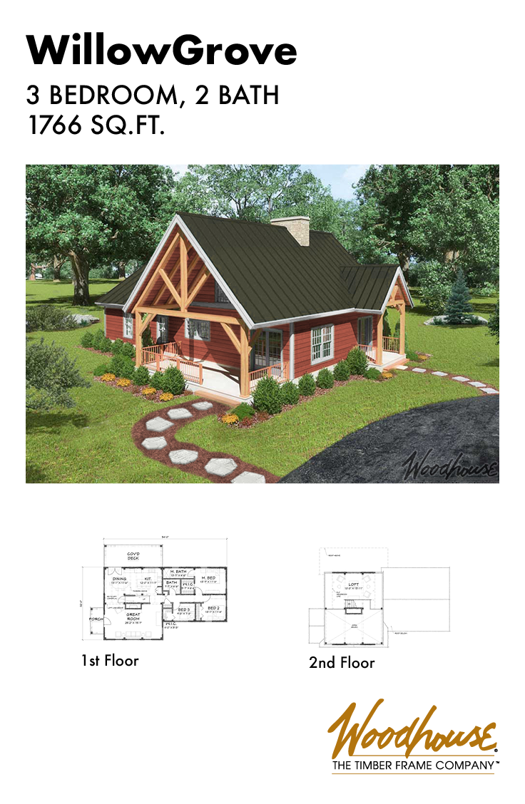 This Cozy Timber Frame Cabin Home Has 3 Bedrooms And An Additional Sleeping Loft On The Sec Timber Frame Home Plans Timber Frame Cabin Plans Timber Frame Cabin