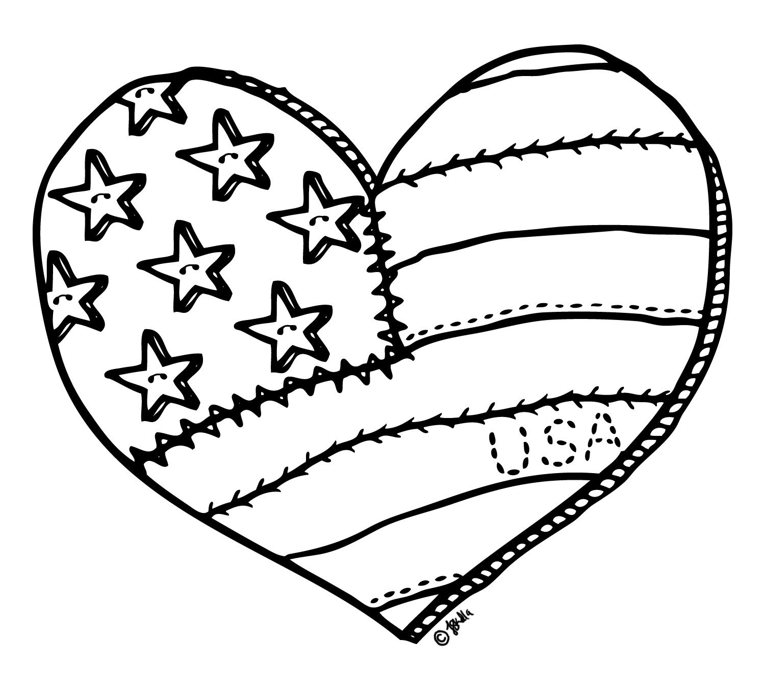 4th of july digital stamp free digital stamp i heart for Flag heart coloring page