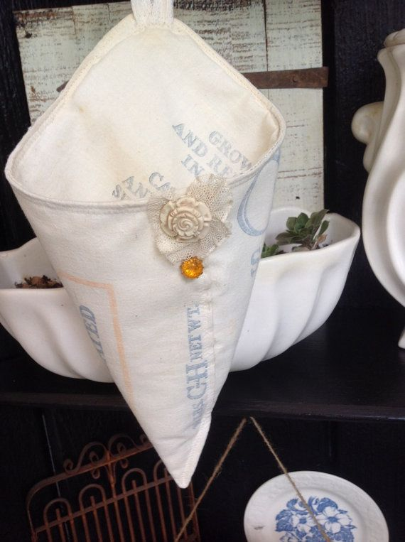 C & H vintage sugar sack cone shabby chic wedding by PillowsBeyond