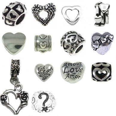 [12] Valentine Heart Pandora Style Bracelet Charms European Antique Silver Spacer Beads, Bulk Lot of Twelve Spacers for Bracelets and Necklaces, Bonus Charm, Gift Bag, an Authentic Timeline Treasures Original Manufactured By the Knight's Treasure, Satisfaction Guaranteed Timeline Treasures,http://www.amazon.com/dp/B00H1BTNCW/ref=cm_sw_r_pi_dp_cGEWsb0129Z68BAS