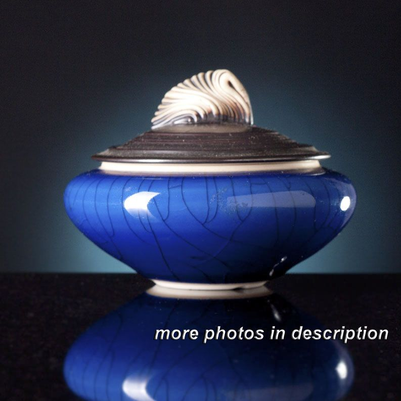 andrew maccorkindale pottery -  Artist Craftsman at Find Great Stuff Antiques and Collectibles  www.findgreatstuff.com  Andrew MacCorkindale 1997 Porcelain Jar Blue Crackle Sculpted Finial Art Pottery