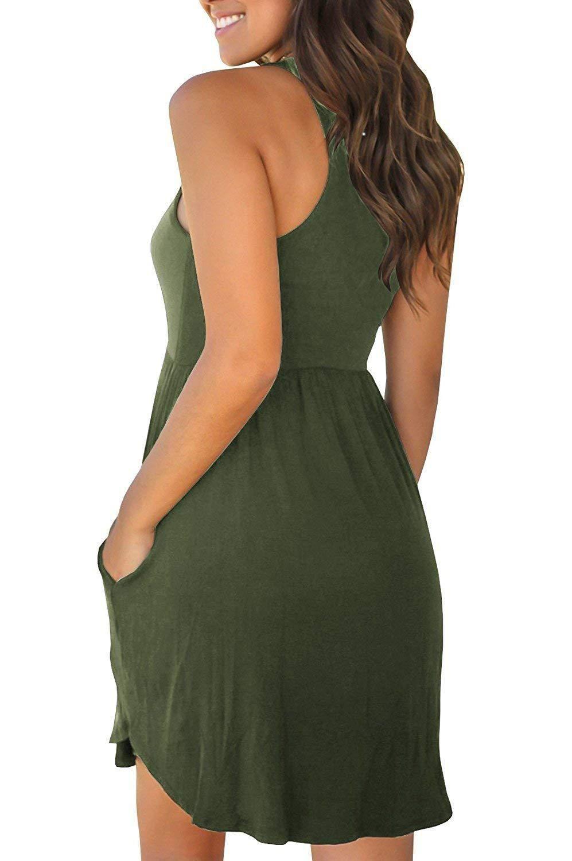 Casual Tummy Hide High Waisted Racerback Dress Sundress Plain Dress Casual Short Dresses Casual Short Sundress [ 1500 x 997 Pixel ]